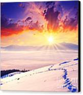 Sunset In The Winter Canvas Print by Boon Mee
