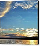 Sunset On Lake Wentworth Canvas Print by Richard Lent