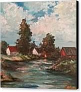 Sunset On The Farm Pond Canvas Print by Kendra Sorum