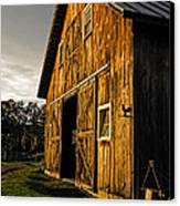 Sunset On The Horse Barn Canvas Print by Edward Fielding