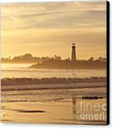 Sunset On The Lighthouse In Santa Cruz Harbor Canvas Print by Artist and Photographer Laura Wrede