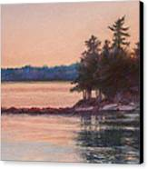 Sunset Over Emerald Point Lake Sebago Maine    Canvas Print by Denise Horne-Kaplan