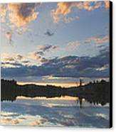 Sunset Over Flying Pond In Vienna Maine Canvas Print by Keith Webber Jr
