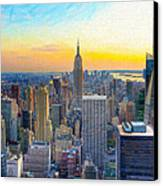 Sunset Over New York City Canvas Print by Mark E Tisdale