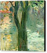 Sunset Over The Lake Bois De Boulogne Canvas Print