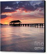 Sunset Pier Canvas Print by Mike  Dawson