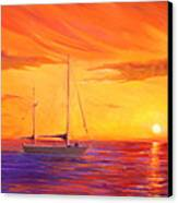 Sunset Ship Canvas Print by Rich Kuhn