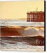 Sunset Surf Santa Cruz Canvas Print by Paul Topp