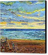 Sunset Volleyball At Old Silver Beach Canvas Print by Rita Brown