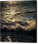 Surf At Dawn Canvas Print by David Pinsent