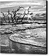 Surf At Driftwood Beach Canvas Print by Debra and Dave Vanderlaan