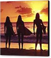 Surfer Girl Silhouettes Canvas Print