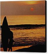Surfing At Sunset Canvas Print by Anonymous