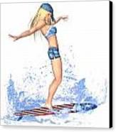 Surfing Girl Canvas Print by Renate Janssen
