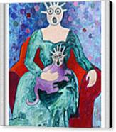 Surprised Woman With Frightened Cat Canvas Print by Eve Riser Roberts