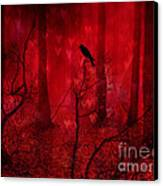 Surreal Fantasy Gothic Red Woodlands Raven Trees Canvas Print by Kathy Fornal