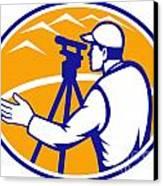 Surveyor Engineer Theodolite Total Station Canvas Print by Aloysius Patrimonio