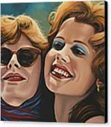 Susan Sarandon And Geena Davies Alias Thelma And Louise Canvas Print by Paul Meijering