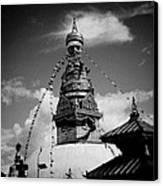 Swayambhunath Temple Black And White Canvas Print by Raimond Klavins