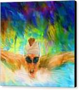 Swimming Fast Canvas Print by Lourry Legarde