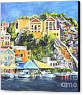 Symi Harbor The Grecian Isle  Canvas Print by Carol Wisniewski