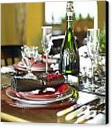 Table Setting With Red And White Canvas Print