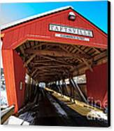 Taftsville Covered Bridge In Vermont In Winter Canvas Print by Edward Fielding