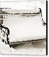 Take A Seat  And Chill Out - Park Bench - Winter - Snow Storm Bw 2 Canvas Print