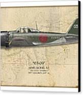Takeo Tanimizu A6m Zero - Map Background Canvas Print