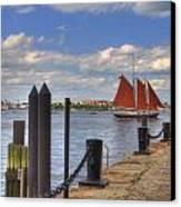 Tall Ship The Roseway In Boston Harbor Canvas Print by Joann Vitali