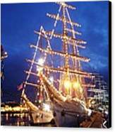 Tall Ships At Night Time Canvas Print by Joe Cashin