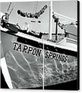 Tarpon Springs Spongeboat Black And White Canvas Print