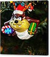 Taz On Christmas Tree Canvas Print by Mike Martin