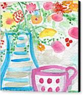 Tea And Fresh Flowers- Whimsical Floral Painting Canvas Print
