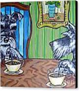 Tea Time For Schnauzers Canvas Print by Jay  Schmetz