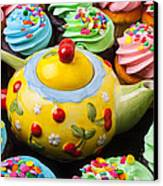 Teapot And Cupcakes  Canvas Print