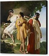 Telemachus And Eucharis Canvas Print by Raymond Quinsac Monvoisin