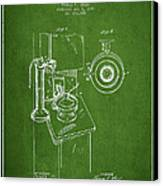 Telephone Patent Drawing From 1898 - Green Canvas Print