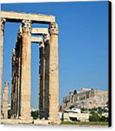 Temple Of Olympian Zeus And Acropolis In Athens Canvas Print