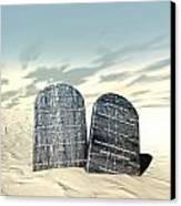 Ten Commandments Standing In The Desert Canvas Print by Allan Swart