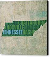 Tennessee Word Art State Map On Canvas Canvas Print by Design Turnpike