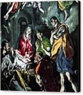 The Adoration Of The Shepherds From The Santo Domingo El Antiguo Altarpiece Canvas Print by El Greco Domenico Theotocopuli