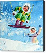 The Aerial Skier - 10 Canvas Print by Hanne Lore Koehler