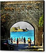 The Ancient City Of Rhodes Canvas Print by Judy Paleologos