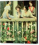 The Balcony Canvas Print by Eugen von Blaas
