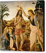 The Baptism Of Christ By John The Baptist Canvas Print by Leonardo da Vinci