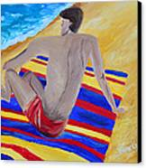 The Beach Towel Canvas Print by Donna Blackhall