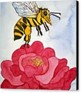 The Bee And The Rose Canvas Print by Shirin Shahram Badie