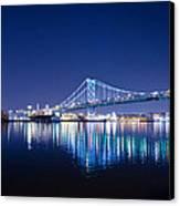 The Benjamin Franklin Bridge At Night Canvas Print