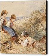 The Bird's Nest Canvas Print by Myles Birket Foster